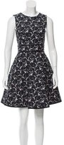 Cynthia Rowley Leather-Trimmed Printed Dress