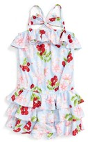 Kate Mack Girl's Cherry Ruffle Romper
