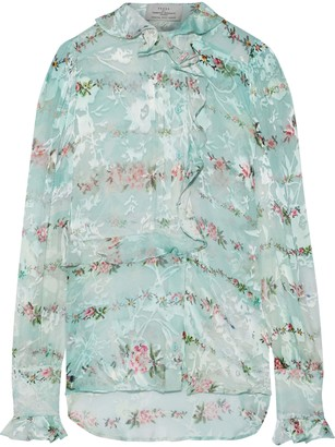 Preen by Thornton Bregazzi Alaric Ruffle-trimmed Floral-print Burnout Silk-blend Blouse