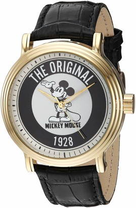 Disney Men's Mickey Mouse Analog-Quartz Watch with Leather-Synthetic Strap