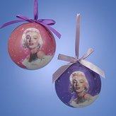 Kurt Adler 80mm Marilyn Monroe Decoupage Ball 2/asstd by