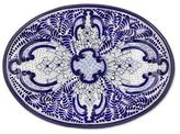 Mayolica Talavera Ceramic Blue Floral Oval Plate (13 inch), 'Puebla Kaleidoscope'