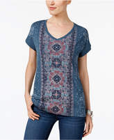 Style&Co. Style & Co Tapestry-Print High-Low T-Shirt, Created for Macy's