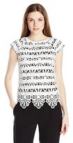 Adrianna Papell Women's Lace Overlay Top W/ Stripe Udn