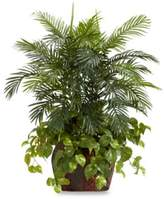 Bed Bath & Beyond Nearly Natural 3 1/2-Foot Double Areca w/ Vase & Pothos Silk Plant