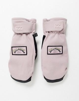 Billabong Stoke ski mitt gloves in light pink