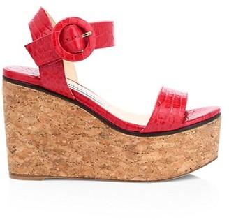 Jimmy Choo Abigail Croc-Embossed Leather Cork Wedge Sandals
