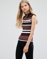 Brave Soul High Neck Stripe Sweater Vest