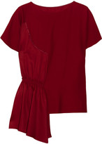 MM6 MAISON MARGIELA Asymmetric Crepe And Smocked Satin Top - Claret