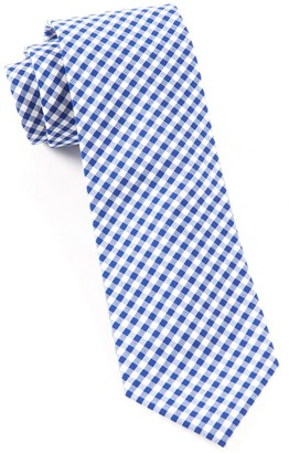 Tie Bar Novel Gingham Royal Blue Tie