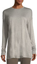 Lafayette 148 New York Long-Sleeve Crewneck Featherweight Jersey Top, Plus Size