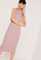 Missguided Basic Sleeveless Round Neck Midi Dress Purple