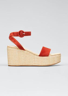 Gianvito Rossi 45mm Suede Raffia Wedge Sandals