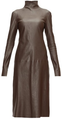 Bottega Veneta High-neck Leather Midi Dress - Dark Brown