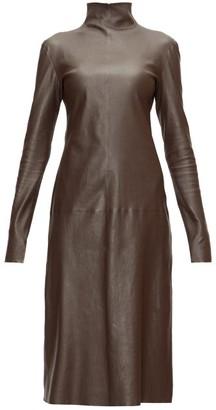Bottega Veneta High-neck Leather Midi Dress - Womens - Dark Brown