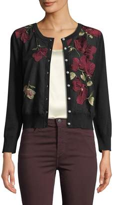 Karl Lagerfeld Paris Pearly Button Floral-Embroidered Novelty Cardigan