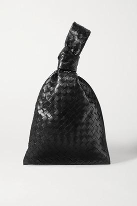 Bottega Veneta Twist Knotted Intrecciato Leather Clutch - Black