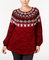 Style&Co. Style & Co. Plus Size Space-Dyed Fair Isle Sweater, Only at Macy's