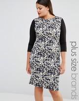 Club L Plus Midi Dress In Leaf Print With Contrast Sleeves