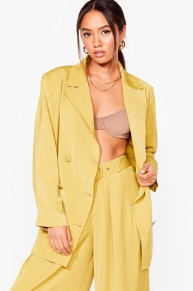 Nasty Gal Womens Business as Usual Petite Oversized Blazer - Chartreuse