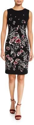 T Tahari Sleeveless Placed-Print Dress
