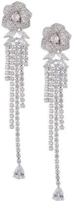Eye Candy La The Luxe Rose Silvertone Crystal Drop Earrings