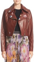 Christopher Kane Women's Embroidered Crop Leather Jacaket