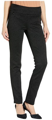 Lisette L Montreal Pena Dot Velvet Flocking Slim Pants (Black) Women's Casual Pants