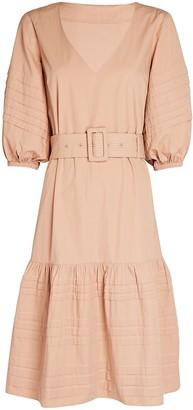 Intermix Bonnie Belted Cotton Midi Dress