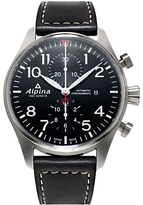 Alpina Al-725b4s6 Startimer Pilot Automatic Chronograph Date Leather Strap Watch, Black