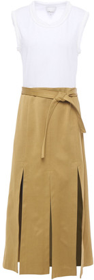 3.1 Phillip Lim Belted Cloque-trimmed Jersey And Sateen Midi Dress