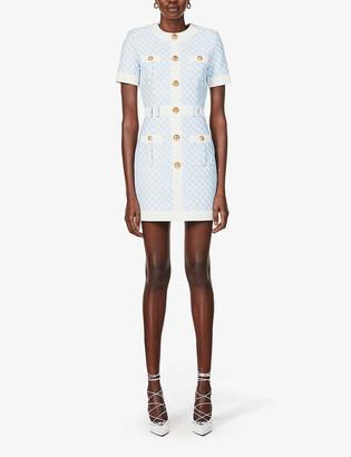 Balmain Gingham-print button-embellished woven mini dress
