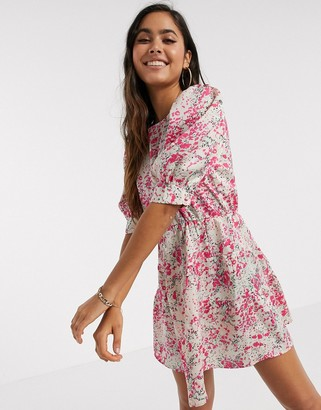 Vero Moda mini dress with puff sleeves in pink floral