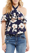 Moa Moa Floral Cold Shoulder Tie Neck Ruffle Sleeve Top
