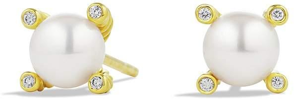 David Yurman Cable Earrings with Diamonds & Pearls in Gold, .03 ct. t.w.