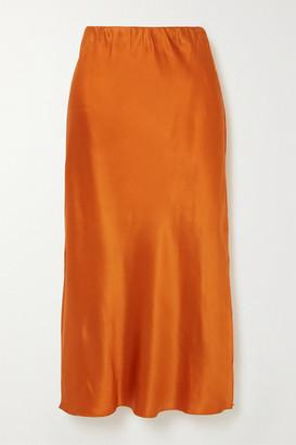 Olivia von Halle Isla Silk-satin Midi Skirt - Orange