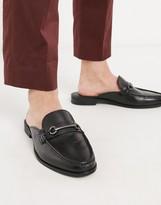 Ben Sherman leather backless loafer in black