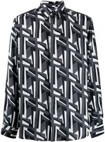 Fendi geometric FF logo print shirt