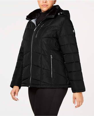 Calvin Klein Plus Size Faux-Fur-Lined Hooded Puffer Coat