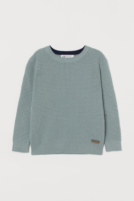 H&M Waffle-knit Sweater - Turquoise