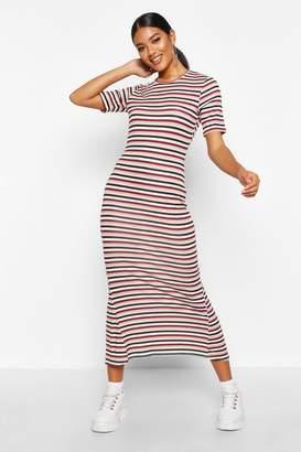 boohoo Stripe Crew Neck Midaxi Dress
