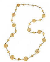 Ben Amun Long Gold Filigree Pendants and Pearls Necklace