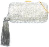 Kayu metallic effect tassel clutch bag