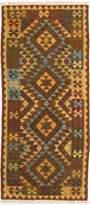 Ecarpetgallery eCarpet Gallery 196385 Hand-Woven Anatolian Kilim Geometric 2' x 6' Orange 100% Wool Area Rug