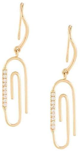 Aurelie Bidermann 18kt gold Paperclip diamond earrings