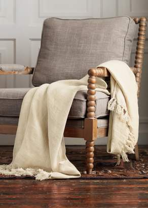 Ya-Ya & Co. Palm Cream Linen Frill Edge Throw