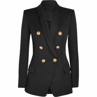 HOSD 2019 Designer Blazer Women's Long Sleeve Double Breasted Metal Lion Buttons Long Outer Wear Black L