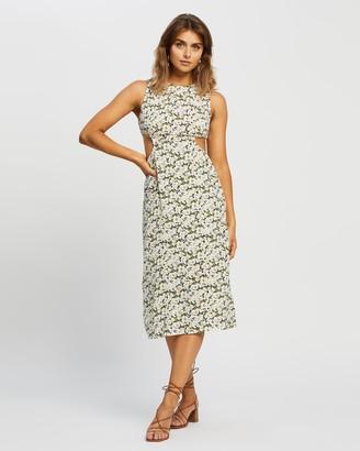 Reverse Floral Cut Out Midi Dress