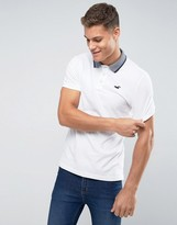 Hollister Oxford Pique Polo Slim Fit Contrast Tipped Collar In White
