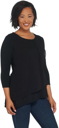H by Halston Scoop Neck Top with Chiffon Drape Detail